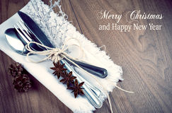 Christmas table setting, christmas menu concept on wooden table with copy space Stock Photography