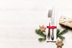 Christmas laying table appointments, table setting options. Silverware, tableware items with festive decoration royalty free stock images