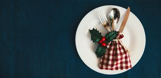 Christmas table setting, December Holidays dinner serving,New Ye. Ar party,Web site banner royalty free stock image