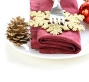 Christmas table setting with decorations Royalty Free Stock Photos