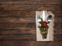 Christmas table setting with christmas decorations. Top view, co royalty free stock photo
