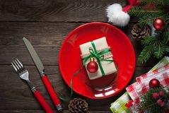 Christmas table setting with decorations. Stock Photos
