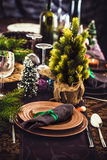 Christmas Table setting for dinner Royalty Free Stock Photos