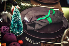 Christmas Table setting for dinner Royalty Free Stock Photography
