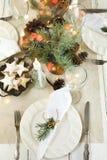 Christmas table setting. Christmas dinner, top view stock image