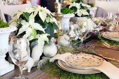 Christmas table setting royalty free stock photography