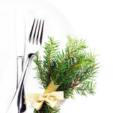 Christmas table setting with festive decorations and copy space Stock Images