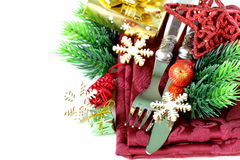 Christmas table setting with festive decorations Royalty Free Stock Photography