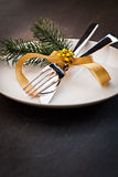 Christmas table setting. Table setting  with fir and copy space Royalty Free Stock Image