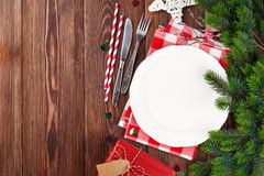 Christmas table setting with fir tree Stock Image