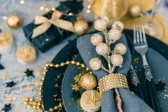 Christmas table setting with gift. top view stock image