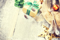 Christmas table setting in gold and green tone Royalty Free Stock Photo