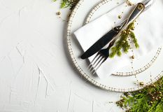 Christmas table setting. Holiday background royalty free stock image