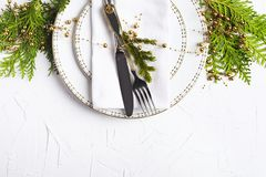Christmas table setting. Holiday background. Copy space stock photography