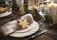 Christmas table setting. Stock Photo