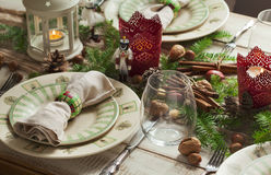 Christmas table setting. Royalty Free Stock Photos