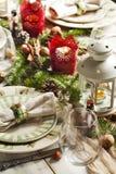 Christmas table setting. Royalty Free Stock Image