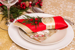 Christmas Table Setting with Holiday Decorations Stock Photography