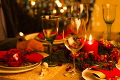 Christmas Table Setting with Holiday Decorations Stock Images