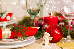Christmas Table Setting with Holiday Decorations Royalty Free Stock Photo