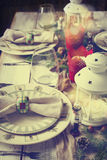 Christmas table setting. Holiday Decorations. Royalty Free Stock Photography
