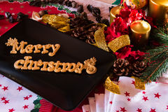 Christmas Table Setting. Holiday Decorations Royalty Free Stock Images