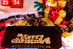 Christmas Table Setting. Holiday Decorations Royalty Free Stock Photography