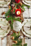 Christmas table setting. Holiday Decorations. Royalty Free Stock Photos
