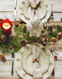 Christmas table setting. Holiday Decorations. Stock Photography