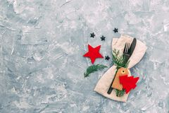 Christmas table setting. Napkin, fork and knife with decorations. Top view, copy space. Festive Holiday background Stock Images