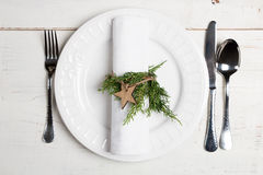 Christmas table setting with natural ornaments Royalty Free Stock Image