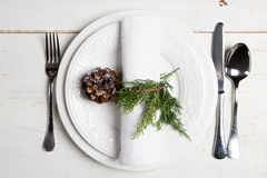 Christmas table setting with natural ornaments Stock Image