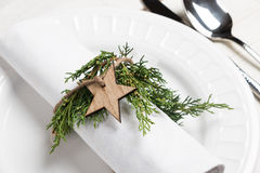 Christmas table setting with natural ornaments Stock Photography