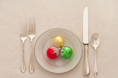 Christmas Table Setting with Ornaments Stock Photos