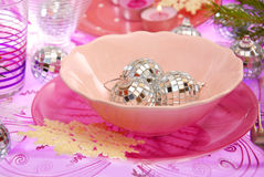 Christmas table setting in pink Stock Photography