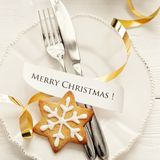 Christmas table setting Royalty Free Stock Image