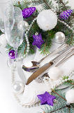 Christmas table setting, in purple tones Stock Photo