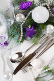 Christmas table setting, in purple tones Royalty Free Stock Photo