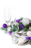 Christmas table setting, in purple tones Royalty Free Stock Image