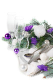 Christmas table setting, in purple tones Royalty Free Stock Photography