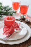 Christmas table setting Stock Photography