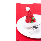 Christmas table setting on a red napkin Royalty Free Stock Photos