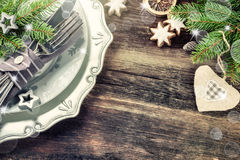 Christmas table setting in in retro style Stock Photography
