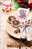 Christmas table setting in rustic style Stock Photos