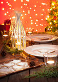 Christmas table setting with rustic style decorations Royalty Free Stock Photo