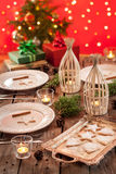 Christmas table setting with rustic style decorations stock photo