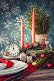 Christmas table setting in rustic style. Royalty Free Stock Photos
