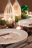Christmas table setting, rustic style, natural decorations Royalty Free Stock Images