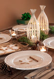Christmas table setting, rustic style, natural decorations Stock Image