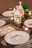 Christmas table setting, rustic style, natural decorations Stock Photos